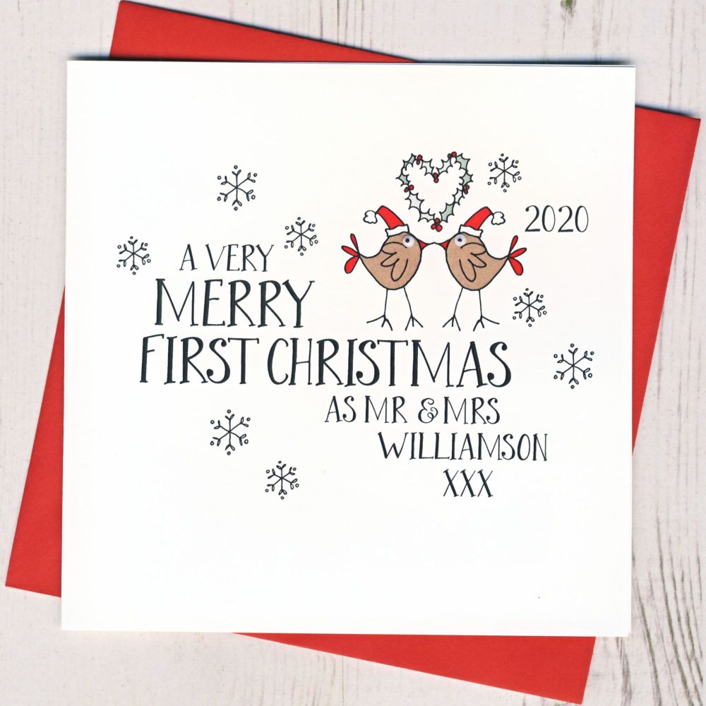 Wobbly Eyes First Christmas as Mr & Mrs Card