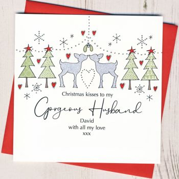 Personalised Male Christmas Kisses Card