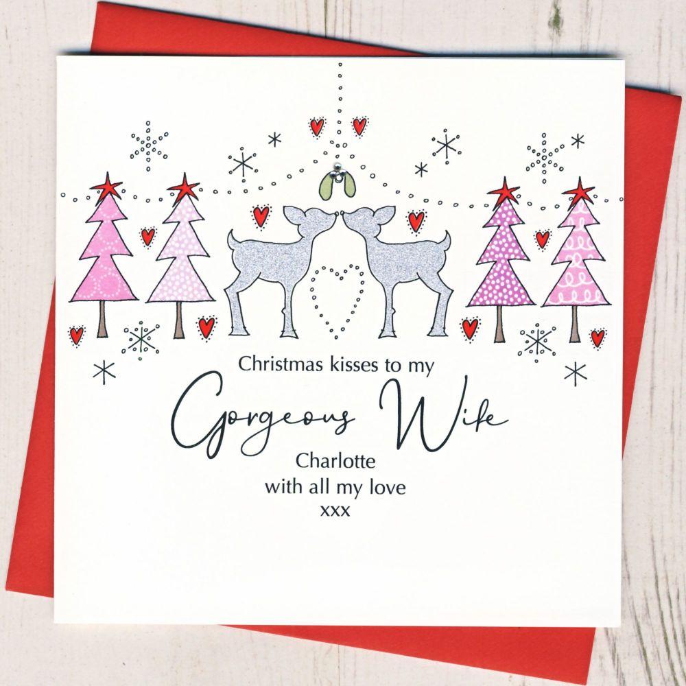 Personalised Female Christmas Kisses Card