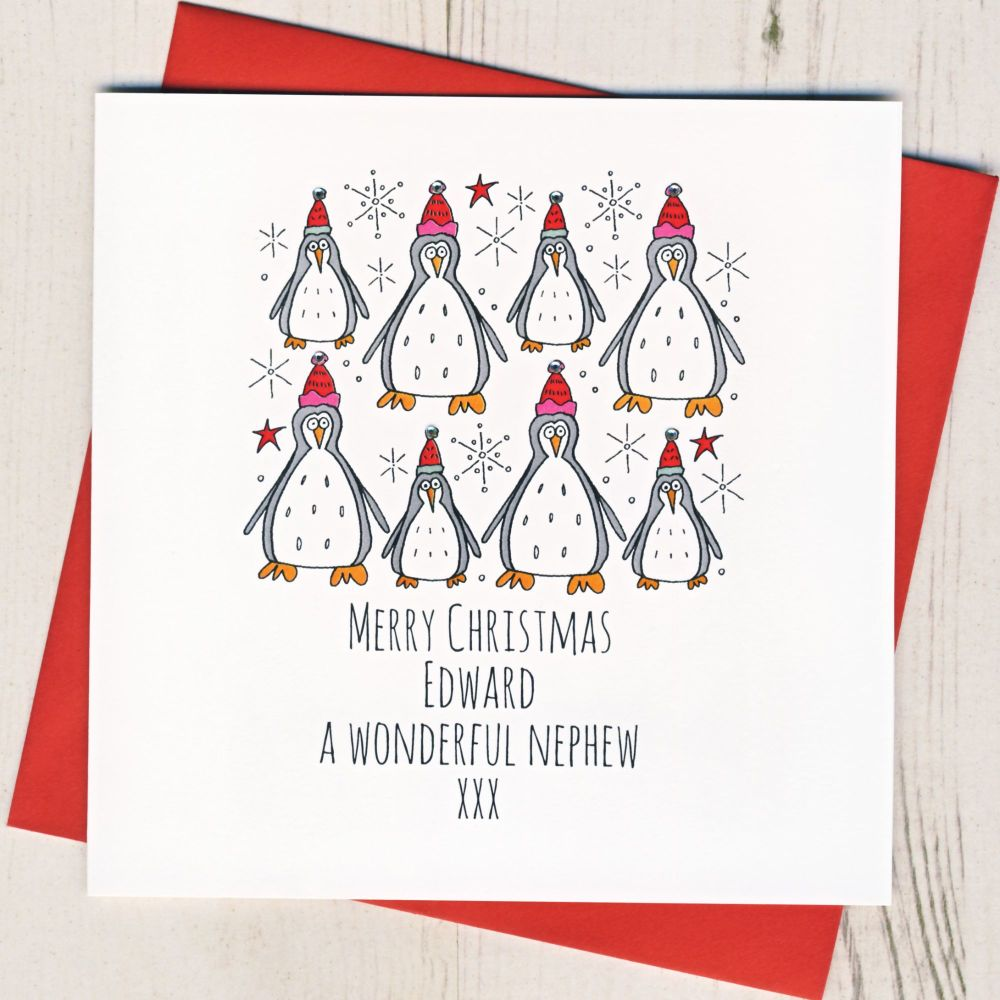 <!-- 002--> Personalised Merry Christmas Penguins