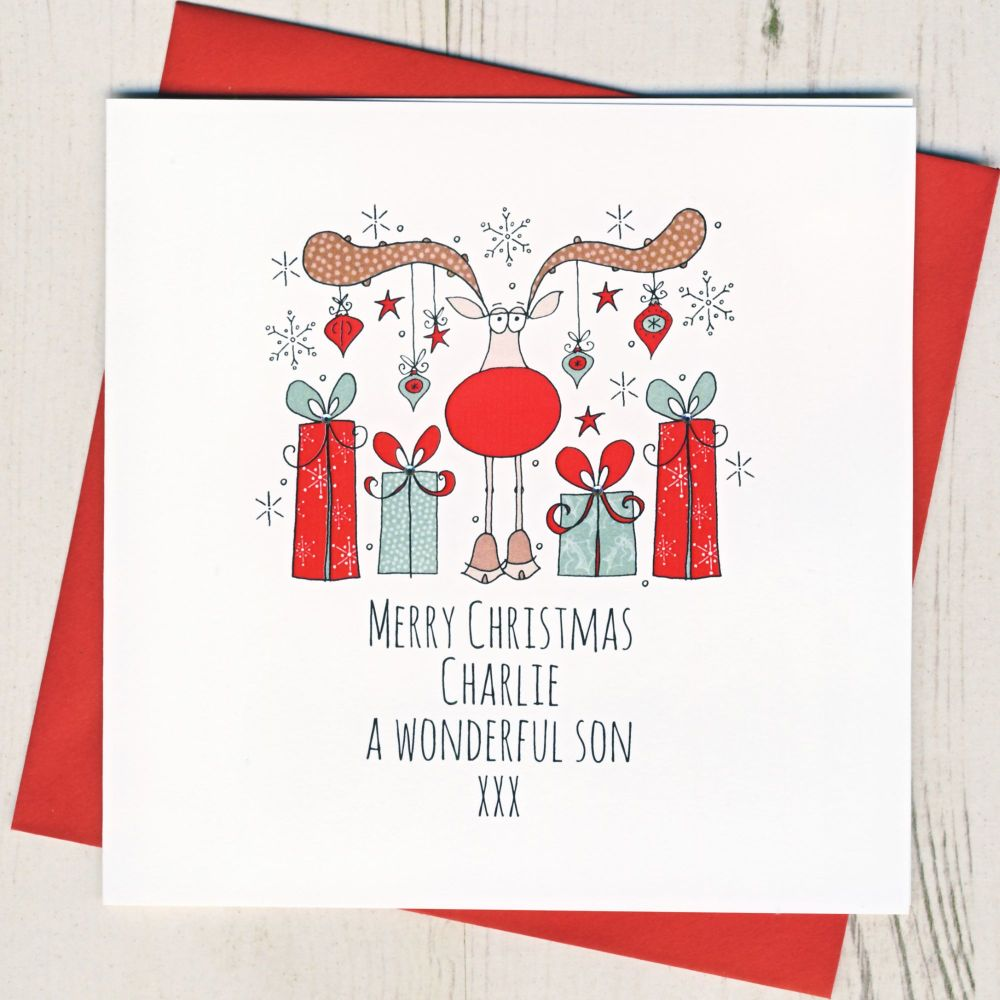 <!-- 002--> Personalised Merry Christmas Rudolph