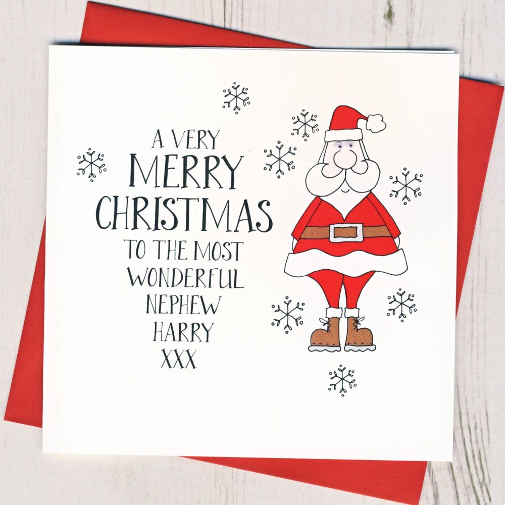 <!-- 004--> Personalised Wobbly Eyes Santa Card