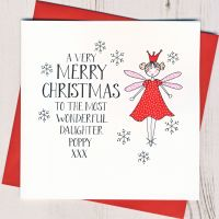 Personalised Wobbly Eyes Fairy Christmas Card