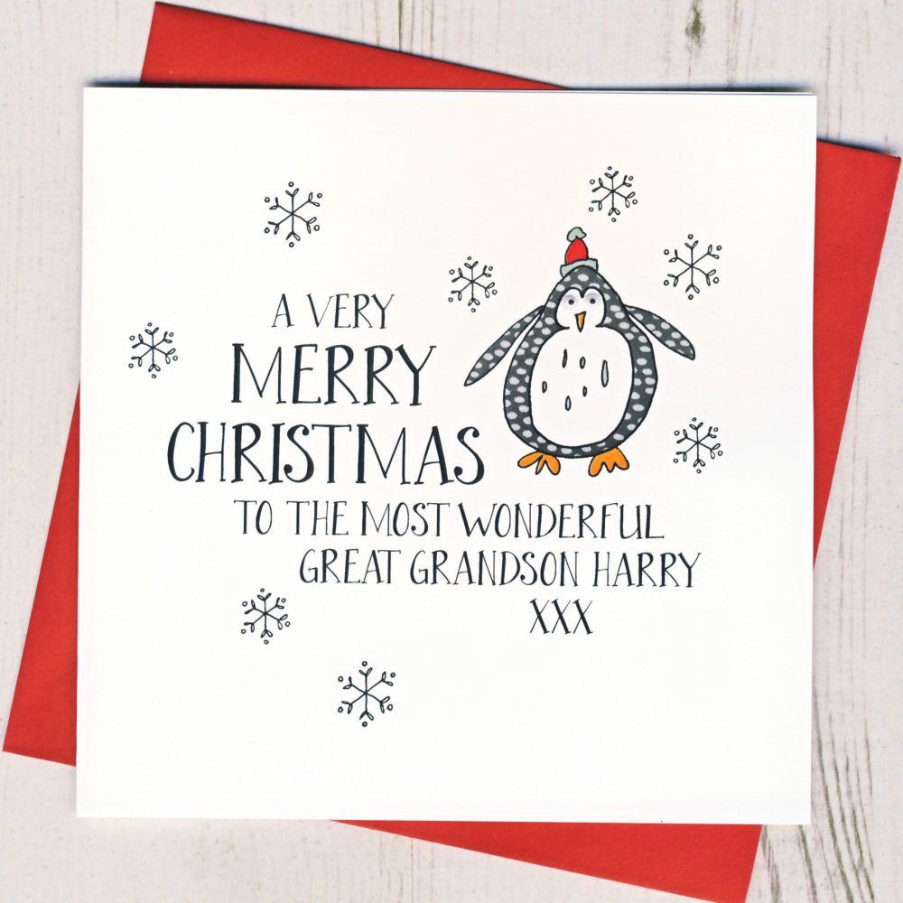 <!-- 004--> Personalised Wobbly Eyes Penguin Card