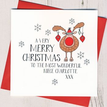Personalised Wobbly Eyes Rudolph Christmas Card