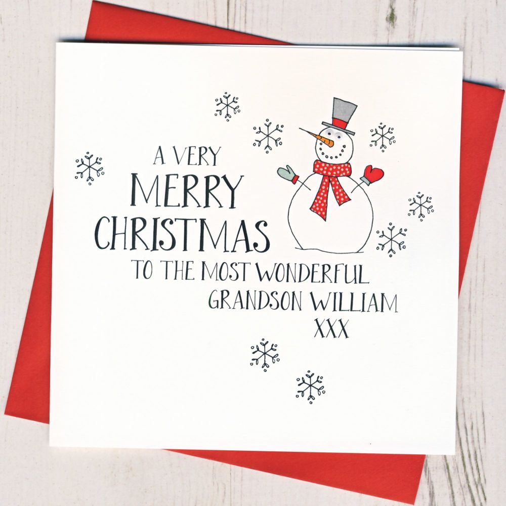 <!-- 004--> Personalised Wobbly Eyes Snowman Card