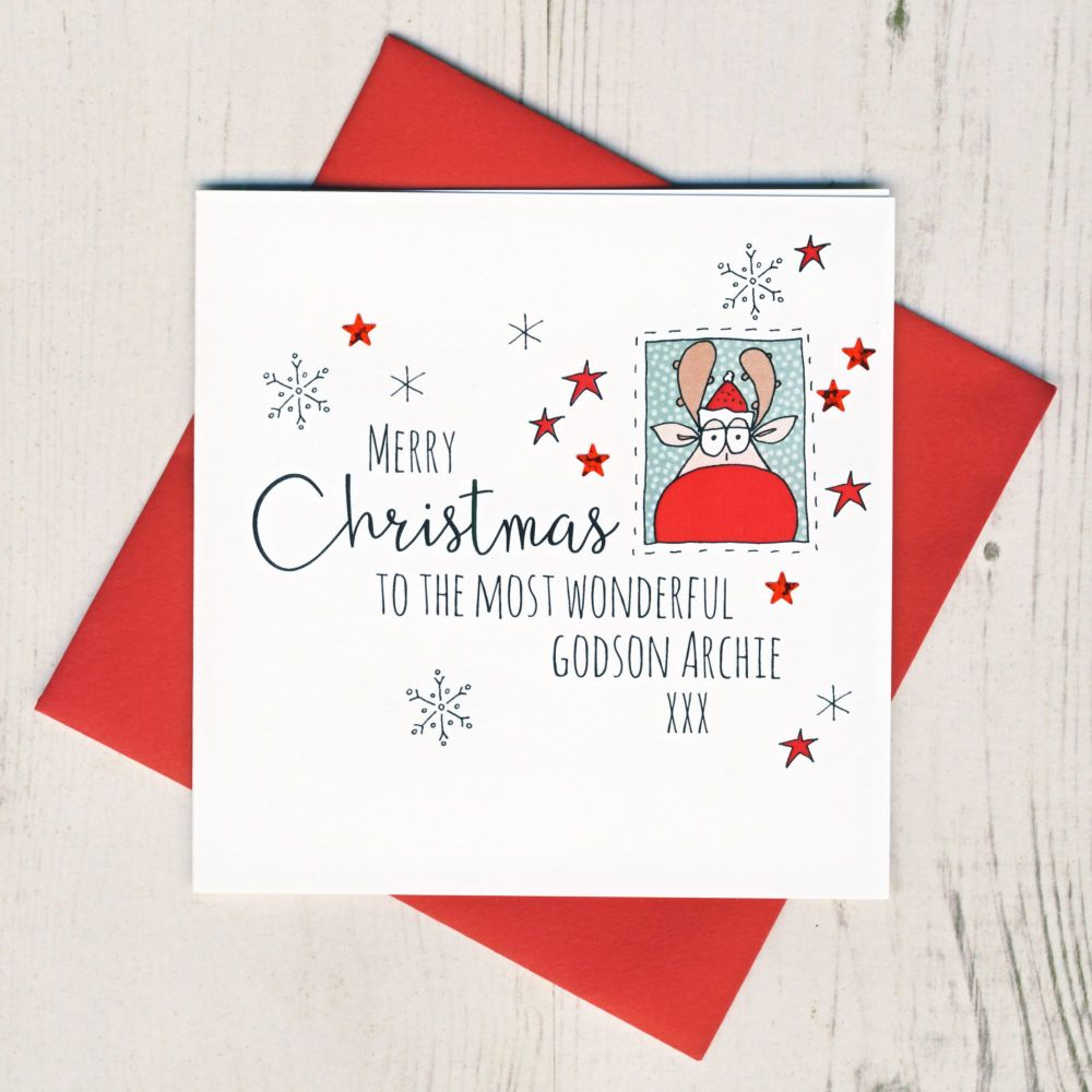 <!-- 003-->Personalised Rudolph Christmas Card