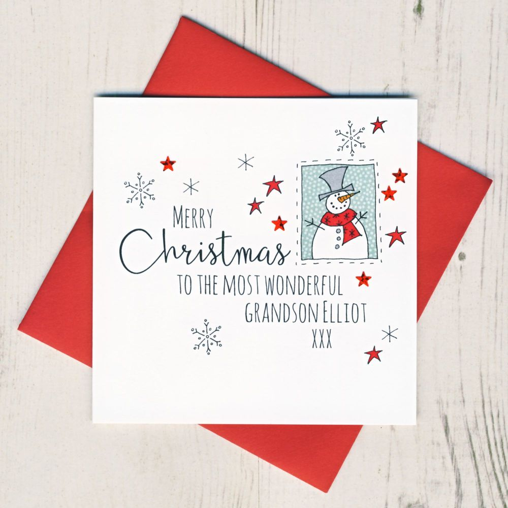 <!-- 003-->Personalised Snowman Christmas Card