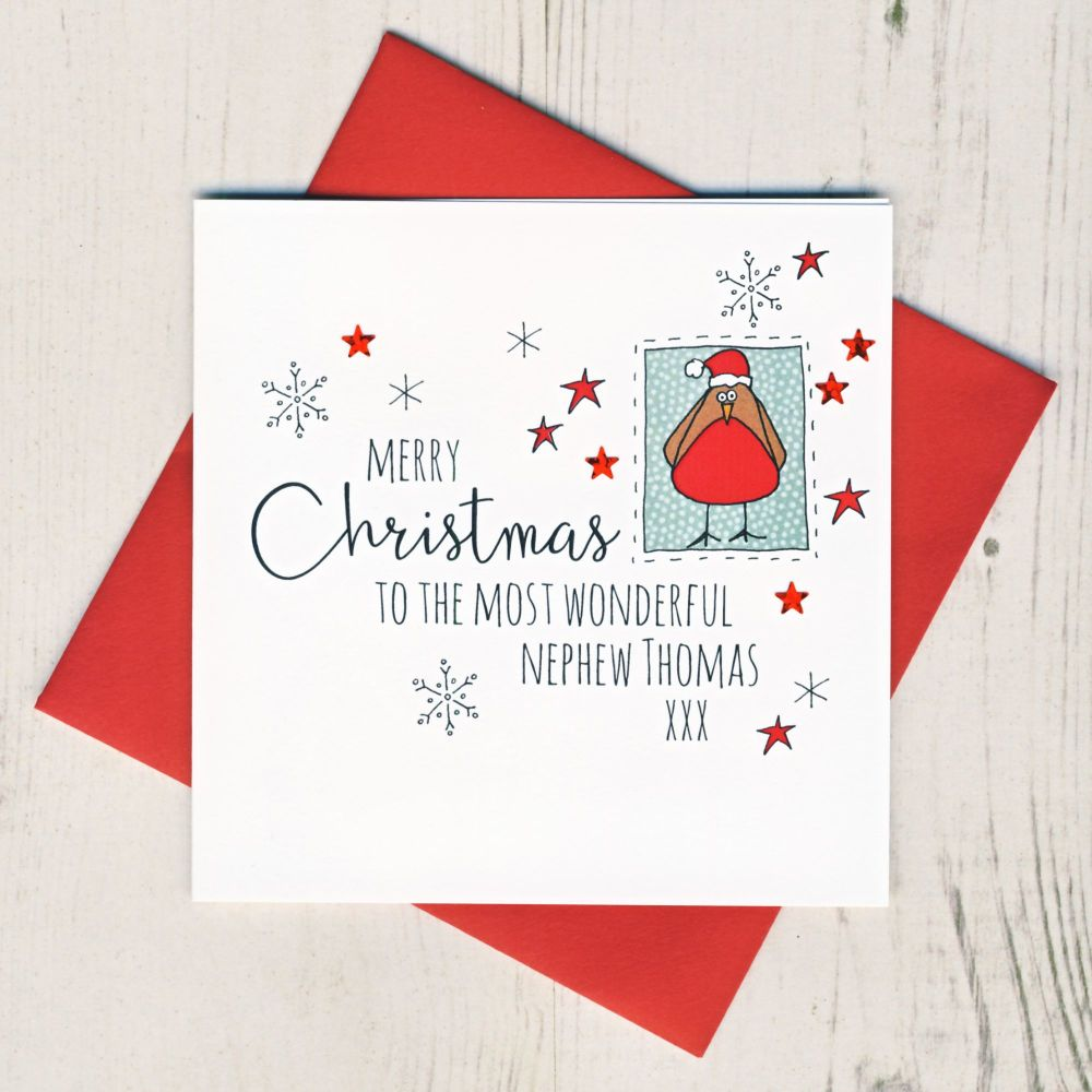 <!-- 003-->Personalised Robin Christmas Card