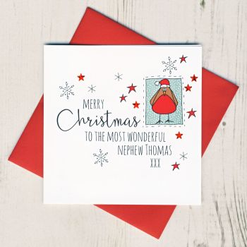 Personalised Robin Christmas Card