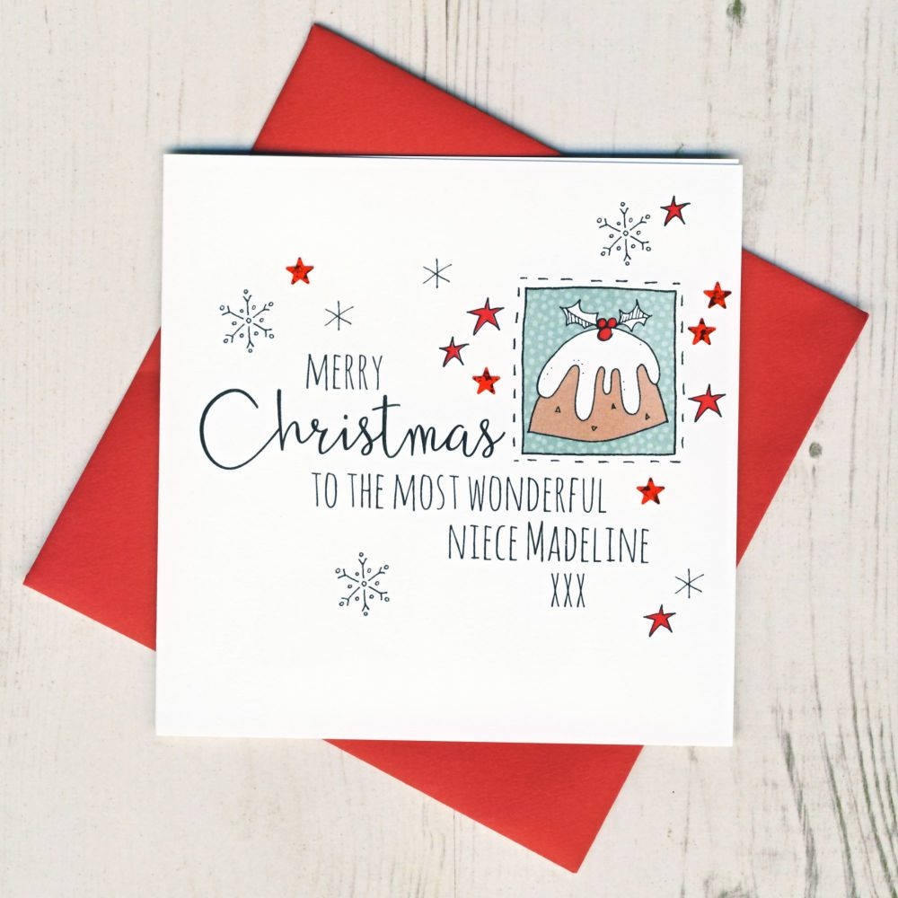 <!-- 003-->Personalised Pudding Christmas Card