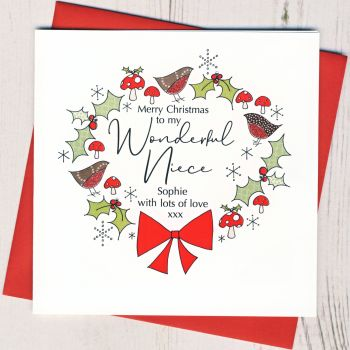 Personalised Christmas Wreath Card