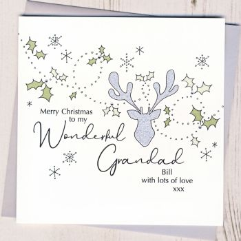 Personalised Christmas Stags Head Card