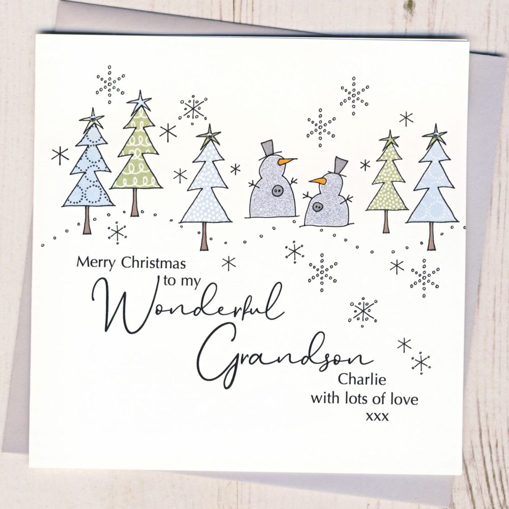 <!-- 001-->Personalised Christmas Snowmen Card