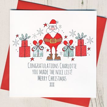 Personalised Nice List Christmas Card
