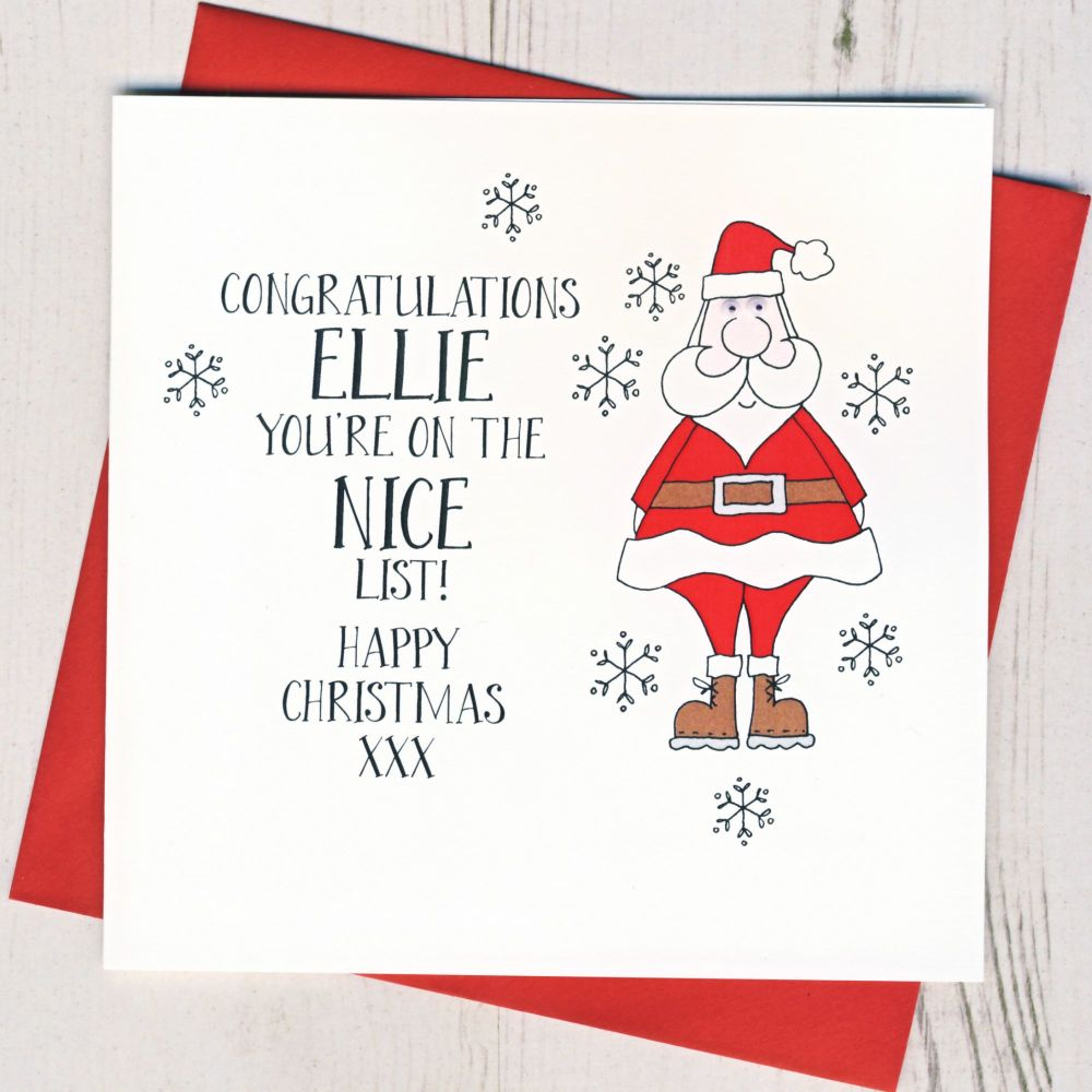 Personalised You're On The Nice List Card