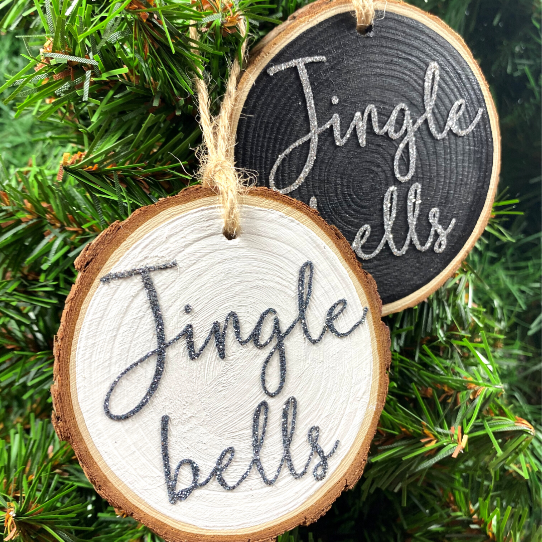 Jingle Bells Hanging Log Slice