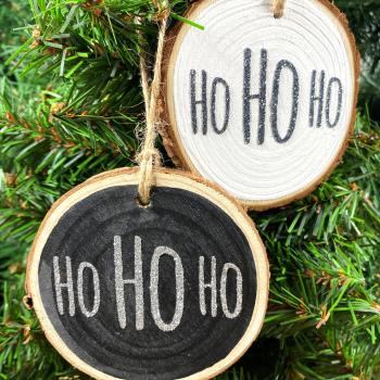 Ho Ho Ho Hanging Christmas Log Slice