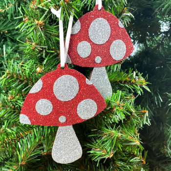 Sparkly Hanging Christmas Toadstool