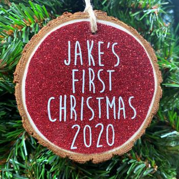Personalised Baby's 1st Christmas Hanging Log Slice