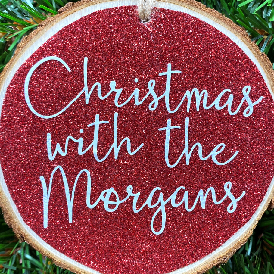 <!-- 001 -->Personalised Family Christmas Hanging Log Slice