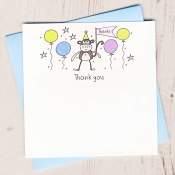 Pack of Monkey Thank You Cards