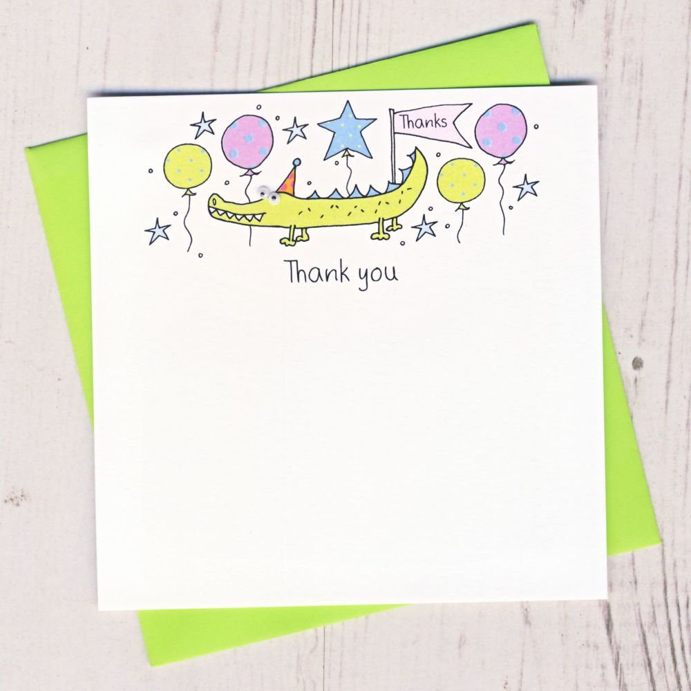 Pack of Crocodile Thank You Cards
