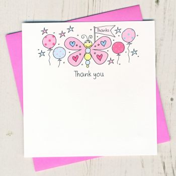 Pack of Butterfly Thank You Cards