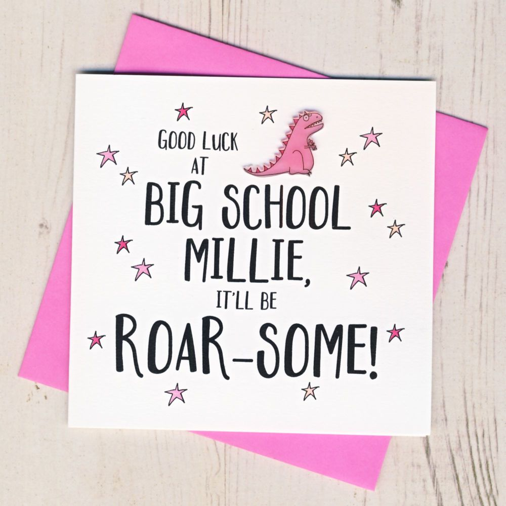 <!-- 000 -->Personalised Roar Some Good Luck At Big School Card