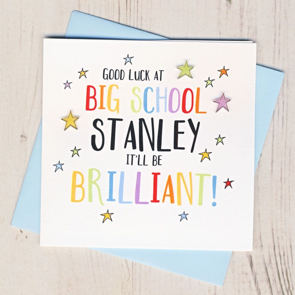 <!-- 000 -->Personalised Colourful Good Luck At Big School Card