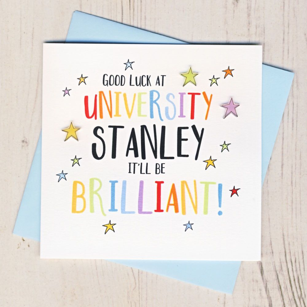 <!-- 000 -->Personalised Colourful Good Luck At University Card