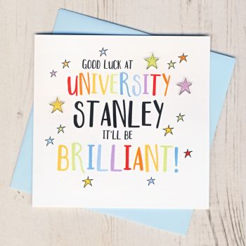 Personalised Colourful Good Luck At University Card