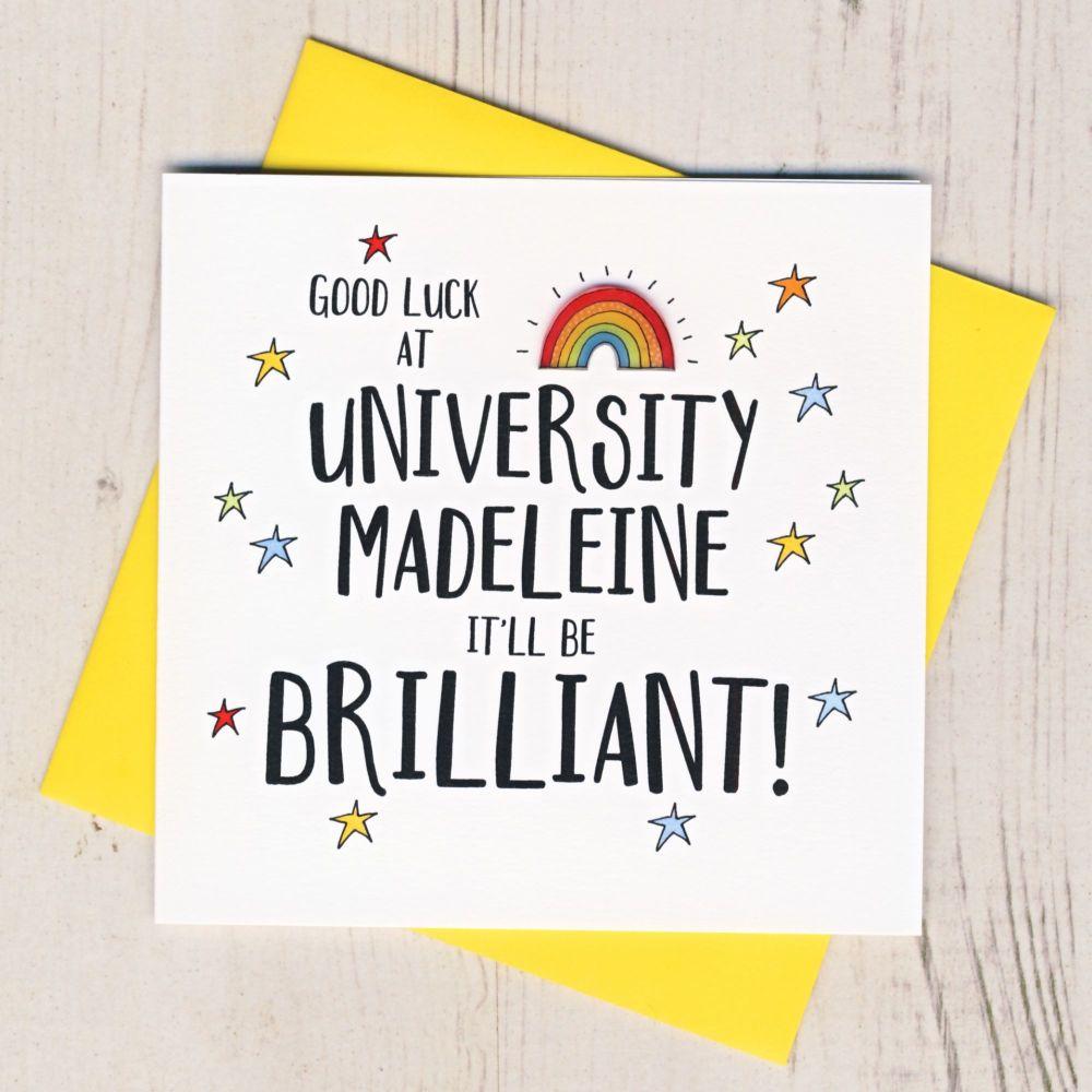 <!-- 000 -->Personalised Rainbow Good Luck At University Card