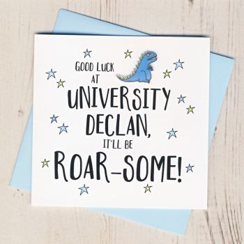 Personalised Roar Some Good Luck At University Card