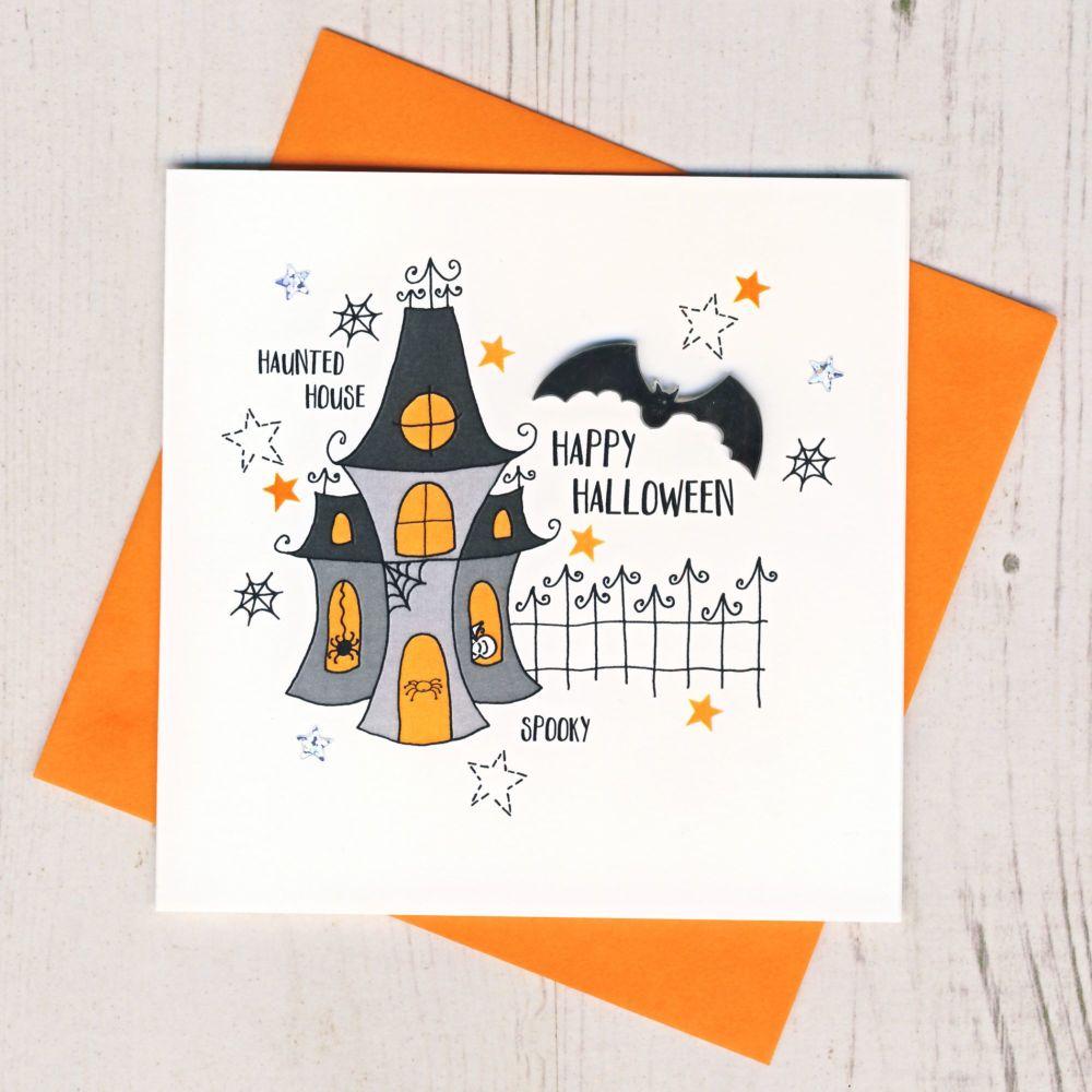 <!-- 003 -->Personalised Haunted House Halloween Card