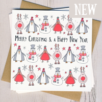 <!-- 001 -->Pack of Five Christmas Character Cards