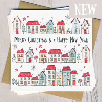 Pack of Five Christmas House Cards