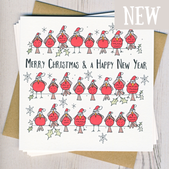 Pack of Five Christmas Robins Cards