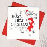 <!-- 008-->Wobbly Eyes Baby's 1st Christmas Card