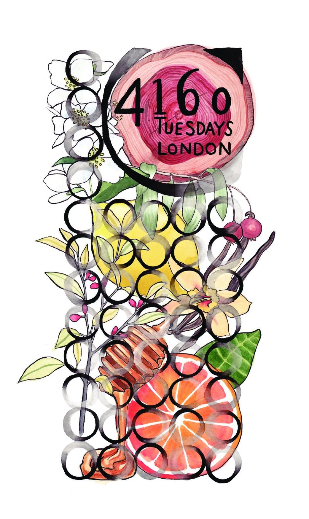 Stylised graphic containing flowers, fruit and honey.