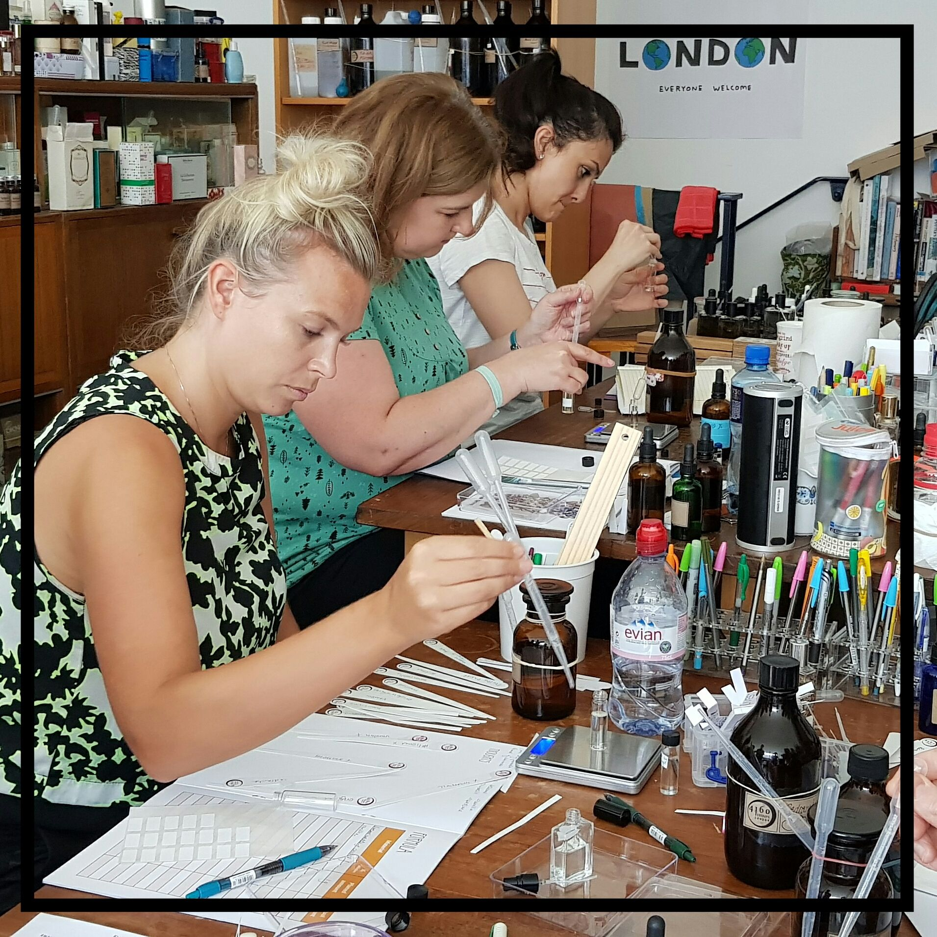 Four pictures of a perfume workshop