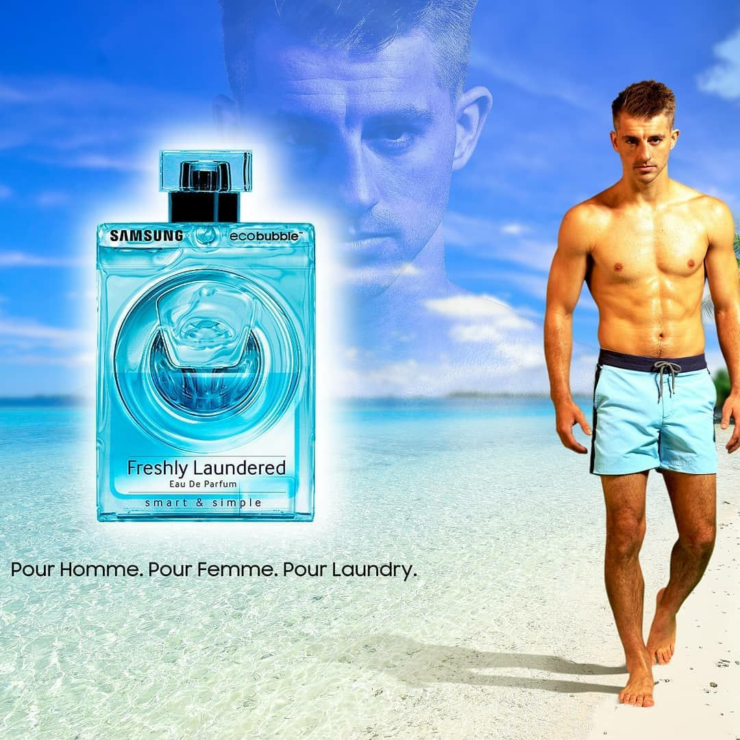Gymnast Max Whitlock, shirtless on a beach next to a bottle of Freshly Laundered perfume, a project for Samsung
