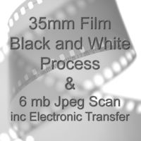 35mm BLACK & WHITE FILM PROCESS AND 6 mb JPEG FILM SCAN WITH ELECTRONIC SEND