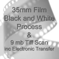 35mm BLACK & WHITE FILM PROCESS AND 9 mb TIFF FILM SCAN WITH ELECTRONIC SEND