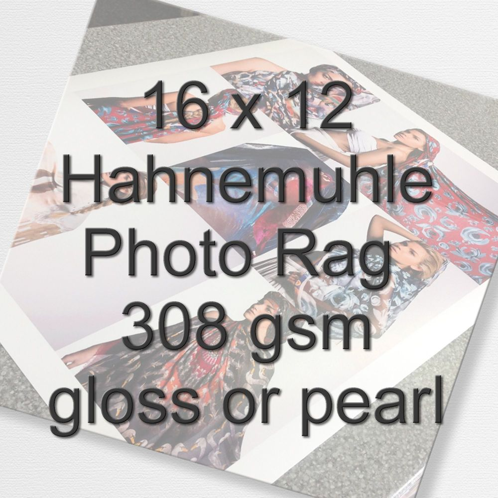 16 x 12 Hahnemuhle Photo Rag 308 gsm gloss or pearl
