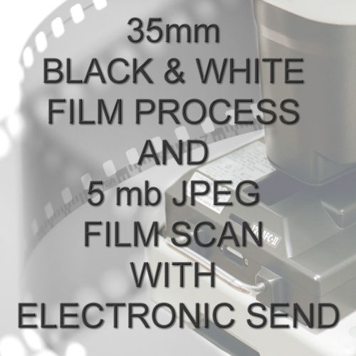 35mm BLACK & WHITE FILM PROCESS AND 5 mb JPEG FILM SCAN WITH ELECTRONIC SEN