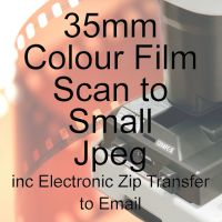 35mm COLOUR FILM PROCESS AND SCAN TO SMALL JEPGS INCLUDING ZIP TRANSFER TO EMAIL INBOX