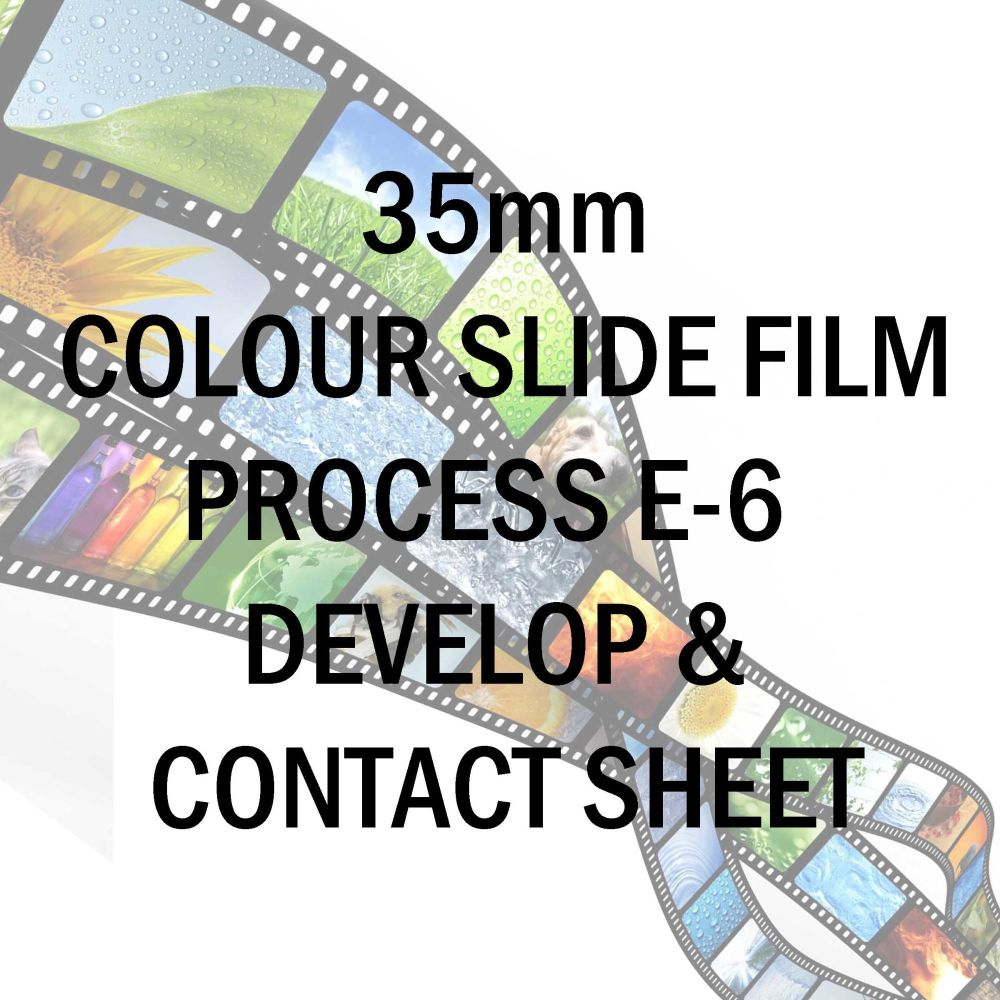 35mm COLOUR SLIDE FILM PROCESS E-6 AND 10X8 CONTACT SHEET