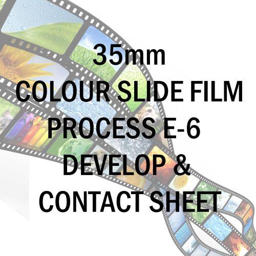 35mm COLOUR SLIDE FILM PROCESS E-6 AND 10X8 CONTACT SHEET