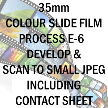 35mm COLOUR SLIDE FILM E-6 DEVELOP AND SCAN TO SMALL JPEG C-D INC 10X8 CONTACT SHEET